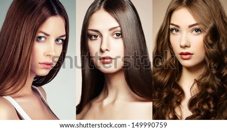 Beautiful collage , faces of women. Fashion photo
