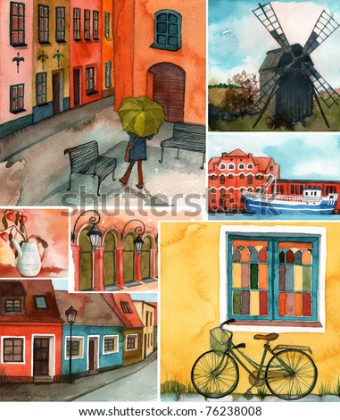 beautiful collage of illustrated Swedish buildings and streets
