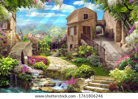 Beautiful collage with access to the garden, with old houses, flowers and waterfalls. Digital collage, mural and mural. Wallpaper. Poster design. Modular panel. 3d render