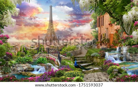 Beautiful collage with access to the Paris, the ancient houses of Italy, flowers and waterfalls. Digital collage , mural and fresco. Wallpaper. Poster design. Modular panno. Foto stock ©