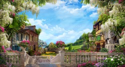 Beautiful collage with access to the sea, the ancient houses of Italy, flowers and waterfalls. Digital fresco. Wallpaper. Poster design. 3d render