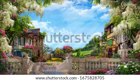 Beautiful collage with access to the sea, the ancient houses of Italy, flowers and waterfalls. Digital fresco. Wallpaper. Poster design. 3d render Foto stock ©