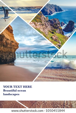 Beautiful collage with space for text, views of the ocean, the coast of Portugal, a tourist collage with seascapes