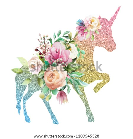 Beautiful, colofrul unicorn, magic horse, pegasus silhouette, rainbow color with shiny golden glitter and watercolor floral, flowers bouquet