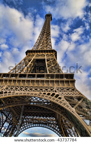 Eiffel Tower Colering Pictures on Beautiful Color Image Of The Eiffel Tower With Cloudy Blue Sky  Stock
