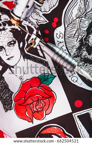 Beautiful colored designs for tattoos and induction tattoo machine. #662504521