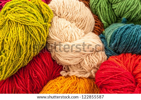 Beautiful colored wools. Abstract picture of wool texture.