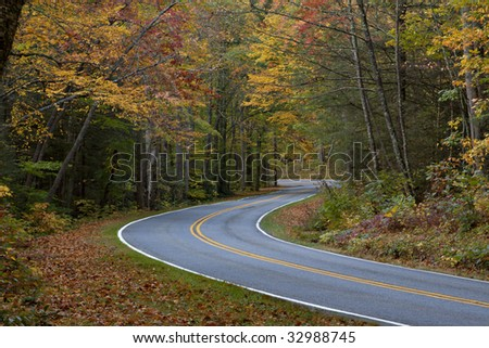 beautiful colorful Autumn Fall road in the mountains of Virginia