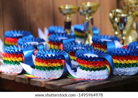 Beautiful colorful awards for the winners of the race #1495964978