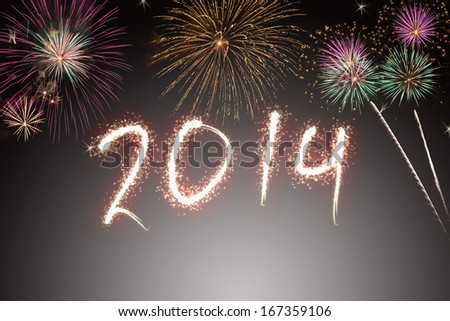 Beautiful colorful background for new years with shining letters effect and fireworks