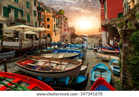 Beautiful colorful cityscape on the mountains over Mediterranean sea, Europe, Cinque Terre