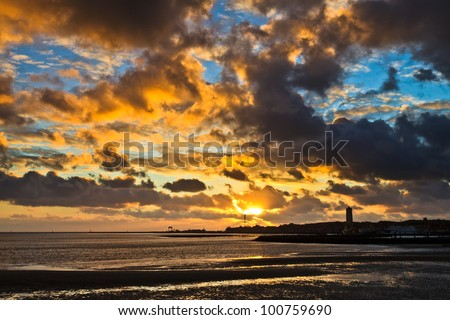 Beautiful colorful cloudscape at sunset on the island