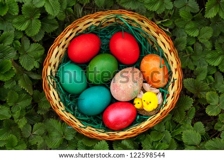 beautiful colorful easter egg in green grass - stock photo