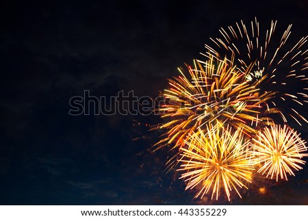 Beautiful colorful fireworks on sky. International Fireworks. Fireworks display on dark sky background. Independence Day, 4th of July, Fourth of July or New Year.