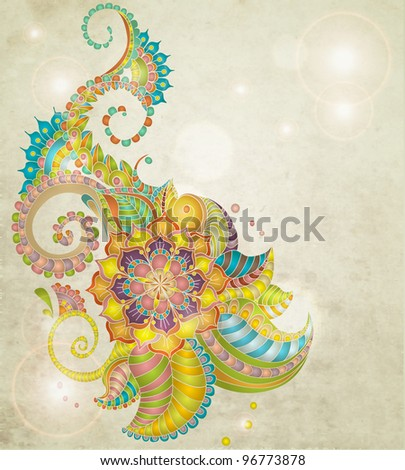 Beautiful colorful floral pattern,illustratio n - stock photo