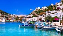 Beautiful colorful Greece - traditional fishing village Panteli. Beautiful island Leros, Dodekanese