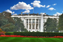 Beautiful colorful HDR image of theSouth Lawn at the White House in Washington, DCin Washington, DC on blue cloudy sky