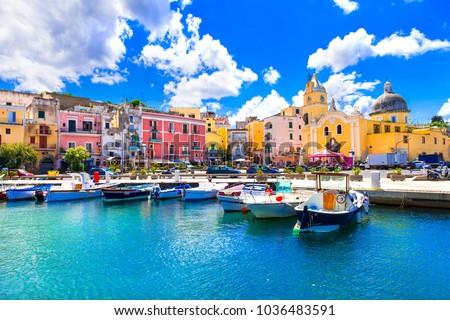 Beautiful colorful island Procida. Campania, Italy