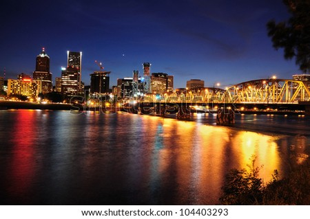 Beautiful colorful night view of portland