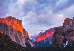 beautiful colorful of yosemite national park at sunset in winter season,Yosemite National park,California,usa.