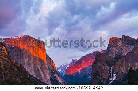 beautiful colorful of yosemite national park at sunset in winter season,Yosemite National park,California,usa. #1056214649