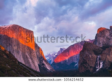 beautiful colorful of yosemite national park at sunset in winter season,Yosemite National park,California,usa. #1056214652
