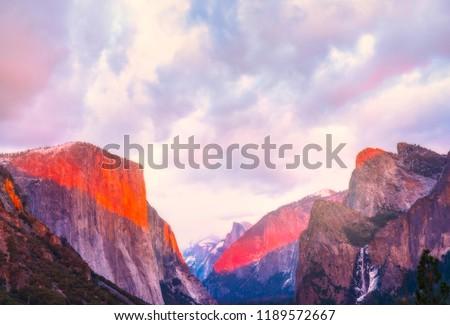 beautiful colorful of yosemite national park at sunset in winter season,Yosemite National park,California,usa. #1189572667