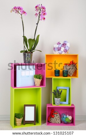 Beautiful colorful shelves with different home related objects stock photo 131025107 shutterstock - Beautiful photoshelves ...