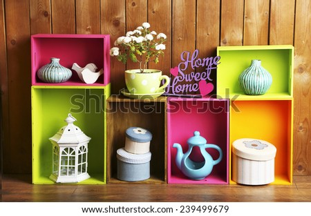 beautiful colorful shelves with ...