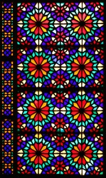 Beautiful colorful stained glass window in Dowlat Abad Garden, Yazd, Iran