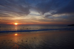 beautiful colorful sunset. sunset beach in Thailand. indian ocean Nature wallpapers