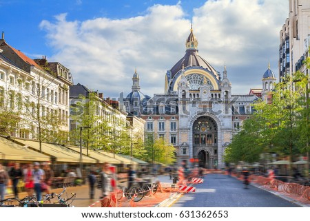Beautiful colorful view of the historic monumental landmark Antwerp Central Station in Antwerp, Belgium, seen from the Keyserlei street in summer