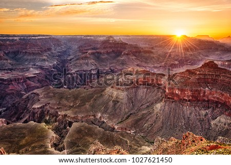 Beautiful colors and shapes of the Grand Canyon shortly after the sunset at Yavapai Point. Arizona, USA