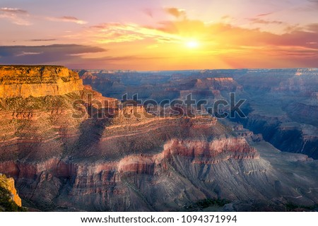 Beautiful colors and shapes of the Grand Canyon shortly after the sunset at Yavapai Point. Arizona, USA #1094371994