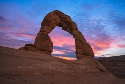 Beautiful colors at Delicate Arch in Arches National Park, Utah