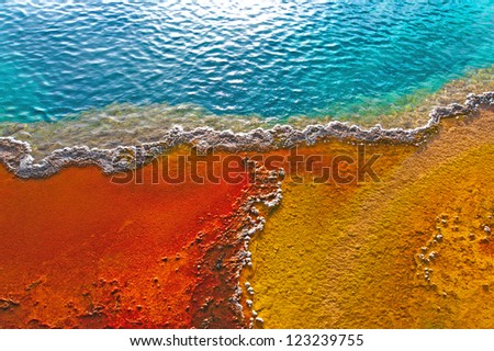 Beautiful colors in a geyser pool, Yellowstone, Wyoming