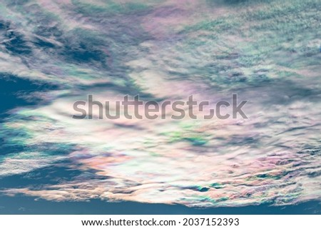 Beautiful colors in the clouds, a phenomenon known in meteorology as iridescence or irisation Photo stock ©