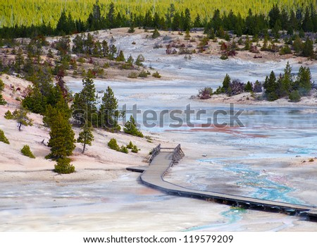Beautiful colors in Yellowstone National Park, Wyoming - stock photo