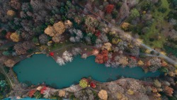 Beautiful colors of autumn and a lake in the forest, shot by drone.  Colorful autumn weather in Istanbul. Ataturk Arboretum