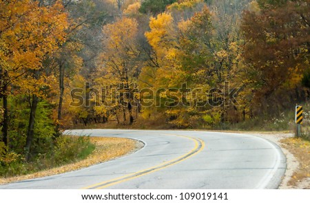 Beautiful colors of Autumn and winding road