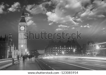 Beautiful colors of Big Ben from Westminster Bridge at Sunset - London.