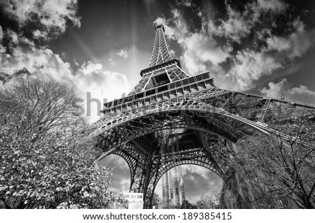 Beautiful colors of Eiffel Tower and Sky of Paris. Black and white processed stock photo