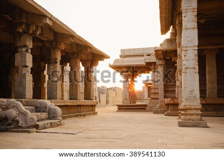 Beautiful columns architecture of ancient ruins of Hazara Rama temple in Hampi, Karnataka, India - Shutterstock ID 389541130