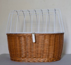 Beautiful comfortable transportation basket with safety grid for dog, cat or any small pet. Perfect attached on bicycle, in car or boat.