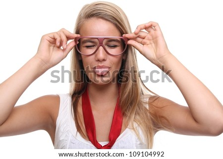 Beautiful commercial woman with glasses