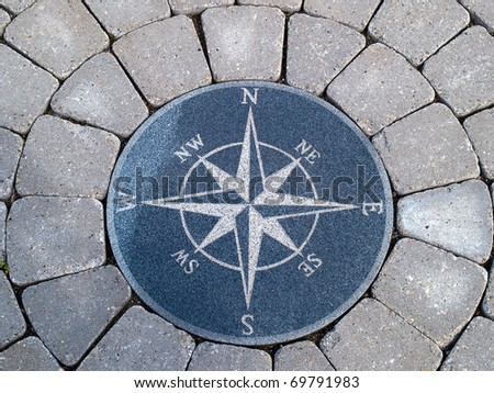 Beautiful compass directions wind rose made from stone