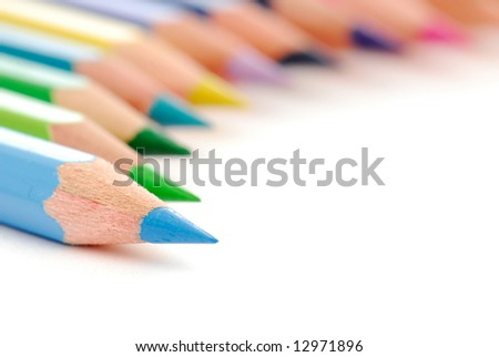 Beautiful composition  of stationery multicolored  pencils