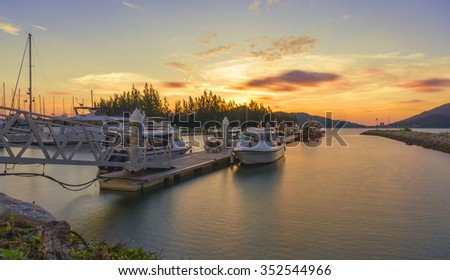 Beautiful composition view of Malaysian Harbour with a yatch during sunset.Vibrance colour. Copy Space Area #352544966