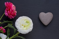 Beautiful concrete heart and flowers on dark background