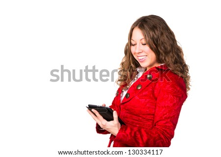 Beautiful confident businesswoman with tablet PC isolated on white